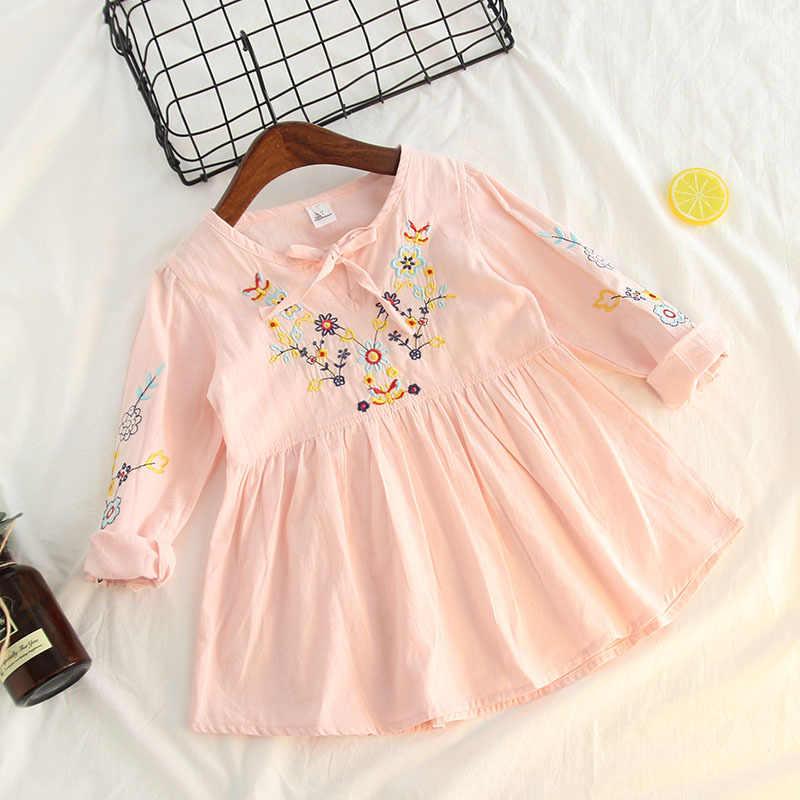 Ropa para niños de estilo étnico de manga larga de algodón puro bordado camisa Vestido corto niñas Pullover camisa de Base
