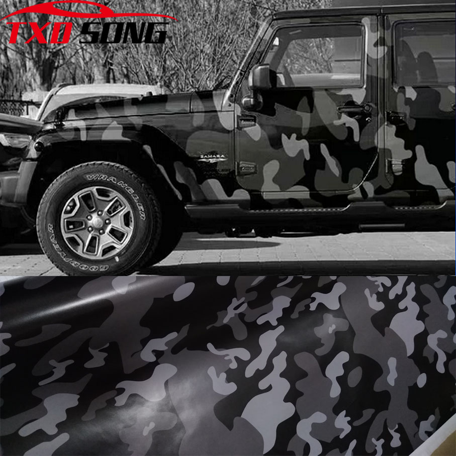 New Arrival Black Camo Vinyl Film Camouflage Car Wrap Film For Car Styling Bike Computer Laptop Scooter Motorcycle