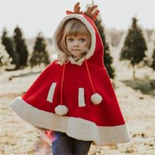 Christmas Red Reindeer Fluffy Cloak For Kids Baby Girls Gift Winter Cape Jacket Clothing Party Game Cosplay Costume Super Cute(China)