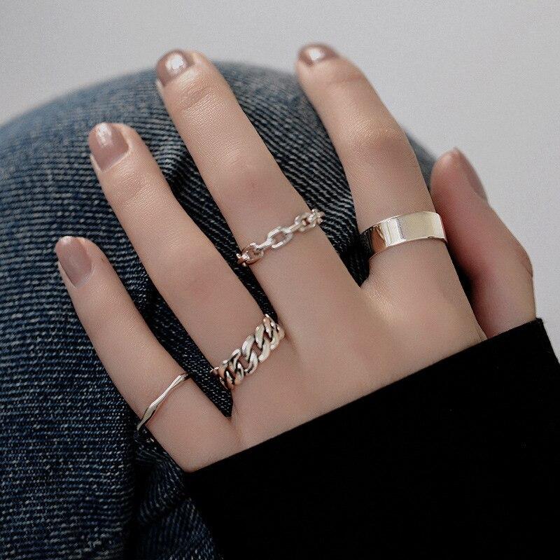 XIYANIKE 925 en argent Sterling coréen large mince chaîne anneau femelle INS Simple à la main ouverture Index doigt mode bijoux Couple 2