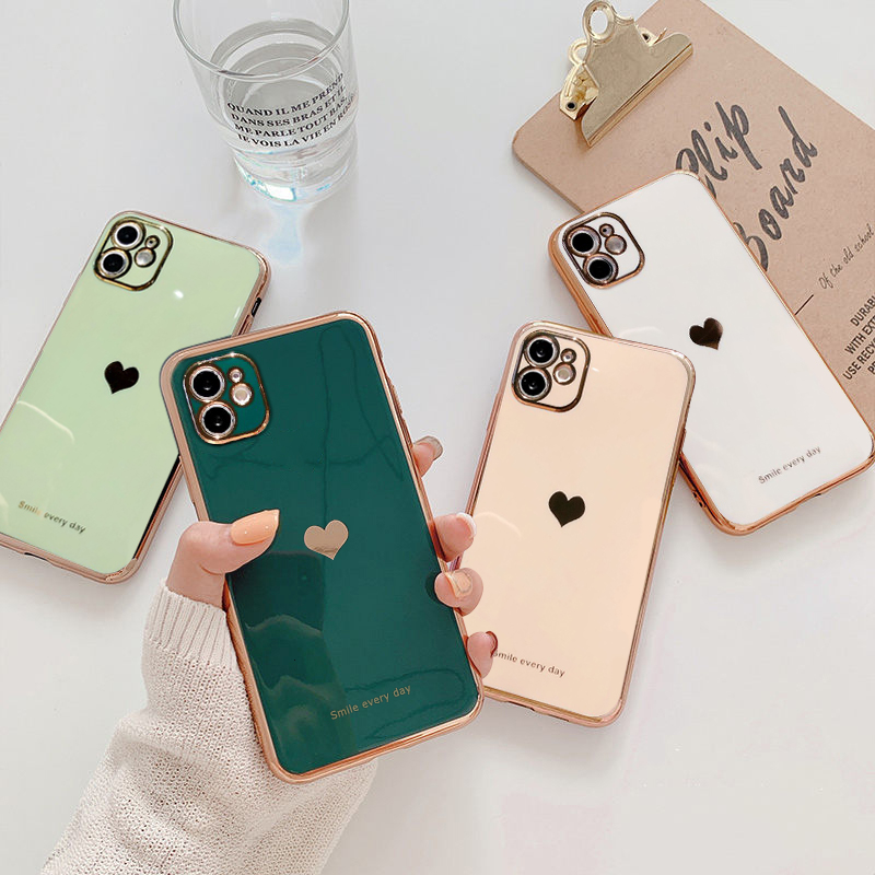 Electroplated Love Heart Phone Case For iPhone 12 Pro 11 Pro Max XR X XS Max 7 8 Plus Soft Silicone Camera Protective Back Cover