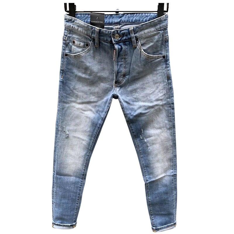 Starbags Dsq Four Season Jeans Men's Model D2d2 Letter Leather Logo Hole Hip Hop Punk Slim Fit Solid Elastic Italian Pop 2020new