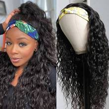 Headband Wig Full-Machine Human-Hair Water-Wave Remy Black Natural-Color Women Indian