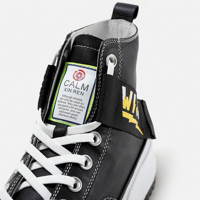 Nouveau haut haut plate forme baskets noir unisexe en cuir véritable semelle épaisse chaussures homme hauteur augmenter chaussures grosses chaussures de marche hommes - 5