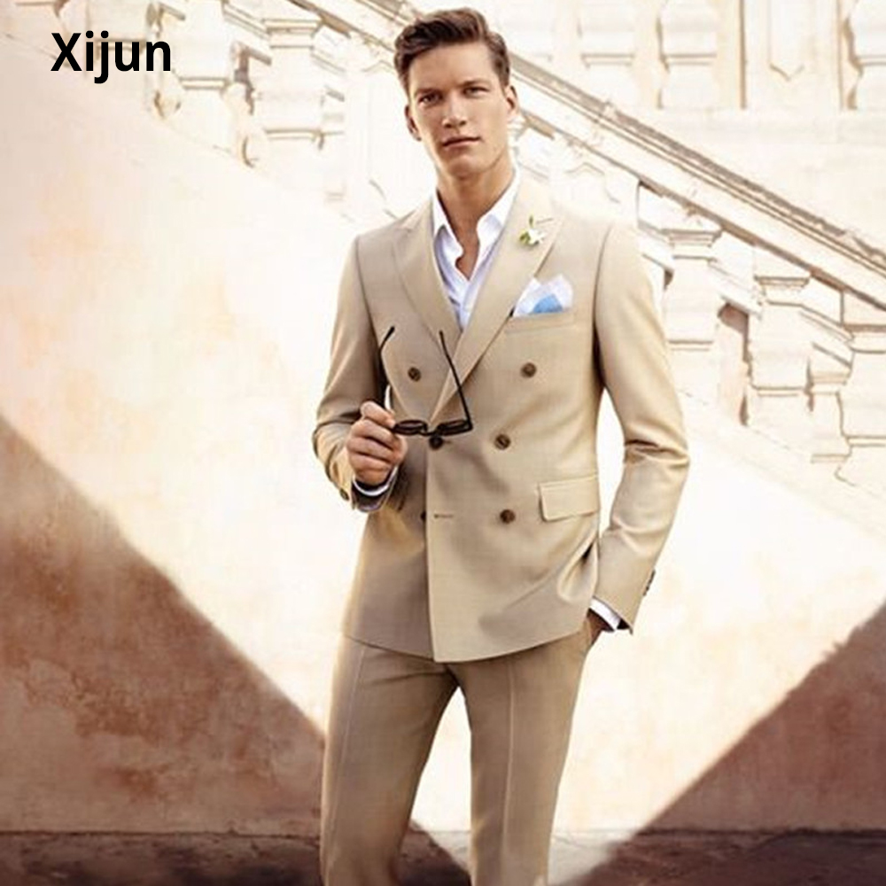 Xijun Dark Champagne Men Suits Sets Double Breasted Men's Casual Tuxedo Custom Blazer Vestidos Men Daily Work Wear suits 2020