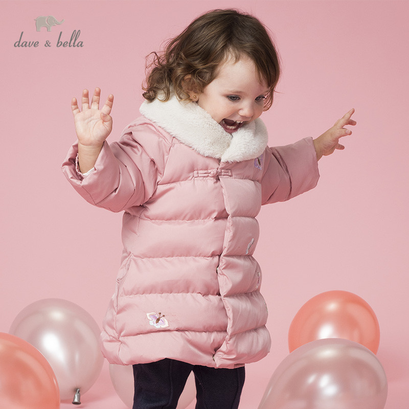 DBZ8990 dave bella winter baby girls down fur coat butterfly zipper outerwear children 90% white duck down padded kids jacket