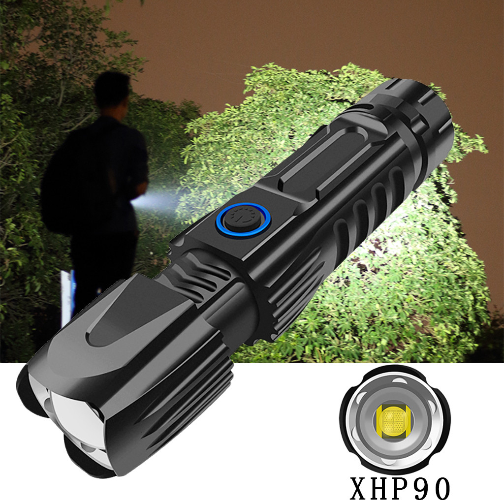 Powerful Flashlight Zoomable XHP90 LED Flashlight USB Rechargeable 26650 Flashlight Torch 5 Modes Lanterna Use 26650 For Hunting