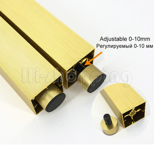Image 3 - 4pcs Metal Furniture Legs Brushed Gold 6 8 10 12 15 18 20CM for TV Cabinet Bathroom Cupboard coffee table Dresser Armchair feet
