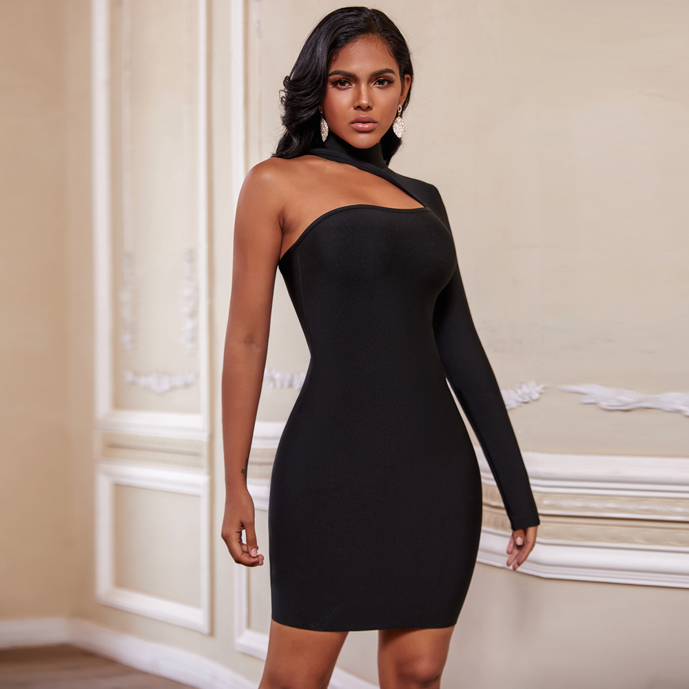 Ocstrade Christmas Winter 2020 Bandage Dresses For Women Sexy Cut Out Black Bandage Dress Long Seeve Bodycon Club Party Dress