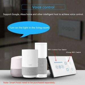 Image 4 - ASEER Smart WIFI Interruttore 4 gang interruttore della luce WIFI con wifi Interruttore Ventilatore A Soffitto, bianco/Nero Cristallo Pannello di Vetro, Lavoro alexa,google