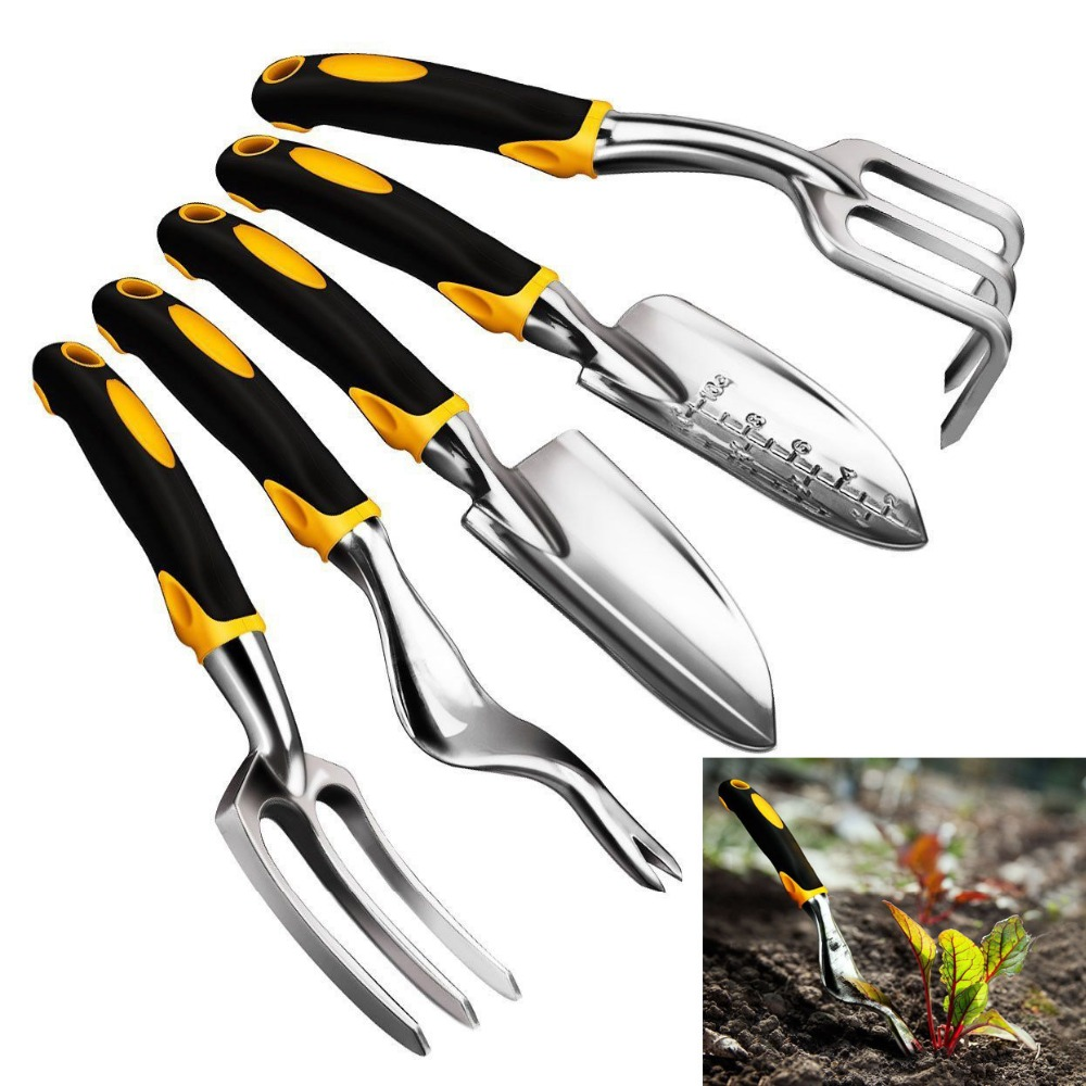 5 Piece Gardening Tools Set Including Trowel Transplanted Cultivator Weeder Weeding Fork Garden Tools With Heavy Duty Cast-al