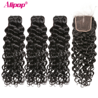 Water Wave Bundles With Closure Brazilian Hair 3 Bundles With Closure Remy Human Hair Weave Bundles Natural 10-28 Inch ALIPOP