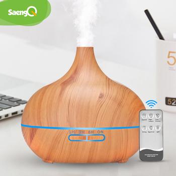 SaengQ elektryczny rozpylacz zapachów olejek eteryczny do nawilżacza powietrza dyfuzor 400ML ultradźwiękowy pilot Cool Mist Fogger LED Lamp tanie i dobre opinie 1l 24 v 36db CN (pochodzenie) Ulatniające się opary Sterylizacja ultradźwiękowa Gospodarstw domowych Klasyczny kolumnowy