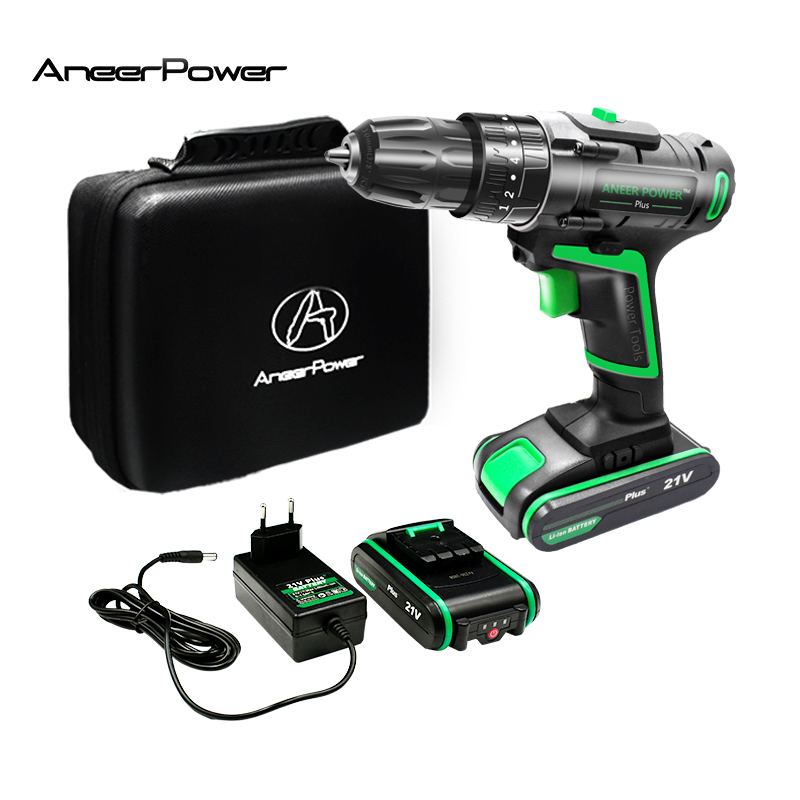 21V New Style Impact Drill Electric Screwdriver Electric Hand Drill Battery Cordless Hammer Drill Home Diy Power Tools+Woven Bag-in Electric Drills from Tools on