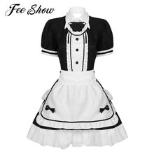 Womens Halloween Crossdresser French Maid Cosplay Costume Outfit Round Neck Short Puff Sleeves Fancy Maid Uniform Dress Clubwear(China)