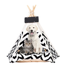 цены Pet Cat Dog Teepee with Cushion & Blackboard, Portable Dog Tents &  Wood Canvas for Dogs Puppy Cat Bed Canvas Teepee with Cushio