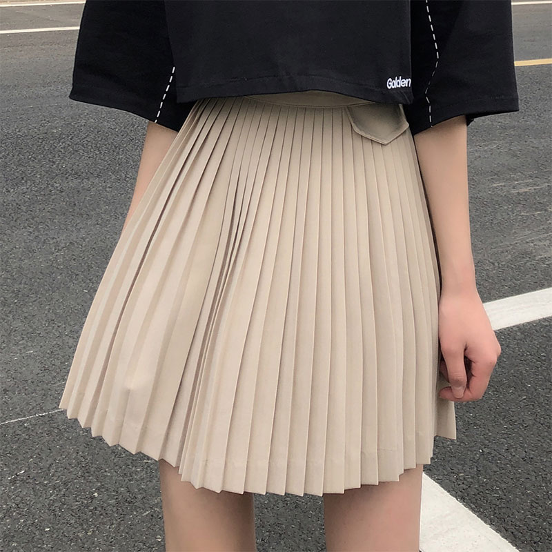 SML 2 Colors Woman Summer Skirts 2020 Preppy Style High Waist Mini Skirt Solid Color A Line Pocket Pleated Skirt Womens (x1376