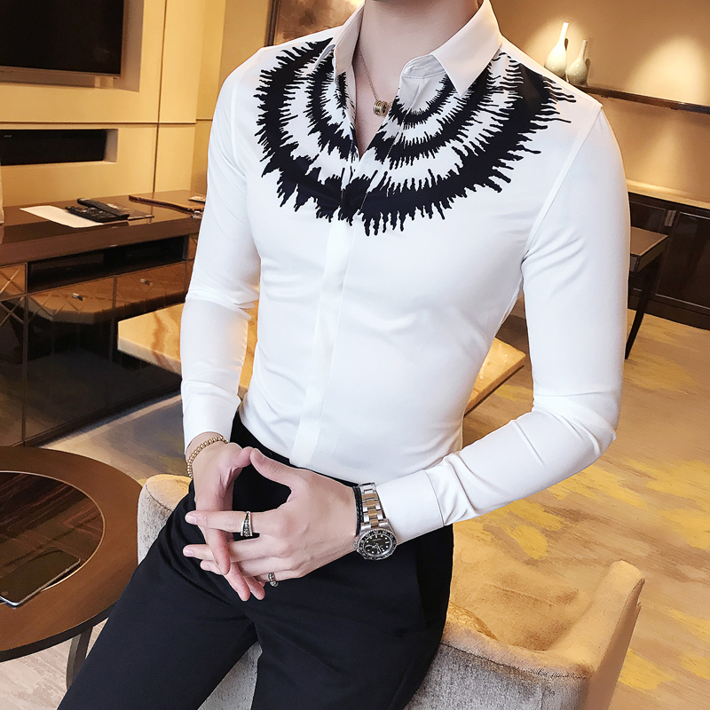 2020 New Digital Printing Shirt Men's Long-Sleeved Slim Casual  Dress Party Shirt Classic Black White Fashion Men Social Shirt