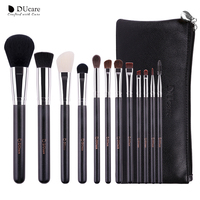 DUcare 12Pcs professional Makeup Brushes with Leather Bags Nature Hair Make Up Brushes Wooden handle makeup brush set