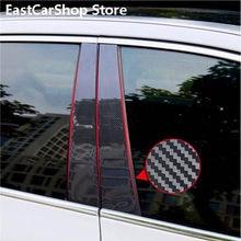 Auto Carbon Faser Tür Fenster Mittleren Spalte Trim B C Säule Schwarz Streifen Aufkleber für Opel Astra J 2011 Limousine