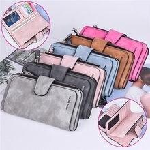 Carteira de couro feminina, bolso para moedas fecho, porta-cartão, dinheiro, casual, longa, para moças, carteira para celular