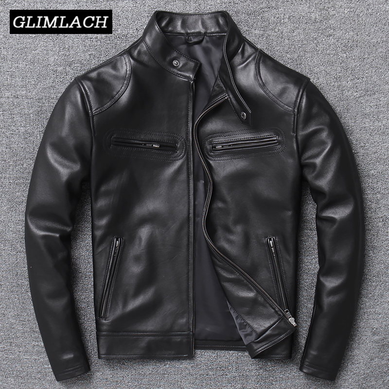 Luxury Genuine Leather Jacket Men High Quality Black Slim Natural Lambskin Real Leather Coat Stand Collar Sheepskin Outerwear