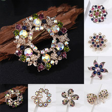 1 PC Colorful Rhinestone Karangan Bunga Bunga Busur Pin Bros Corsage Perhiasan Elegan(China)