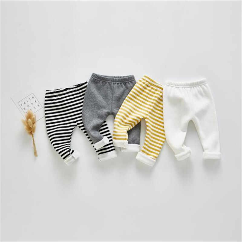 יילוד תינוק מכנסיים חורף פס כותנה צמר תינוק ילד ילדה מכנסיים פעוט מכנסיים עבור בנות בני ילדים חותלות חם 0-2Y