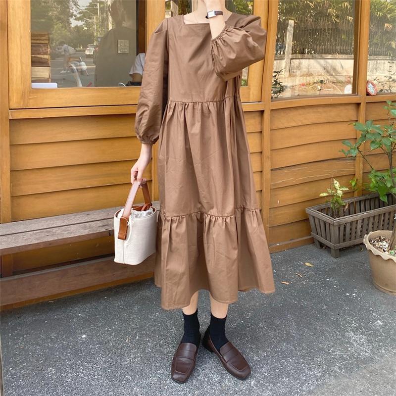 H9cba62bd0f554102908dc2f0743e60acO - Spring / Autumn Square Collar Long Lantern Sleeves Loose Solid Midi Dress