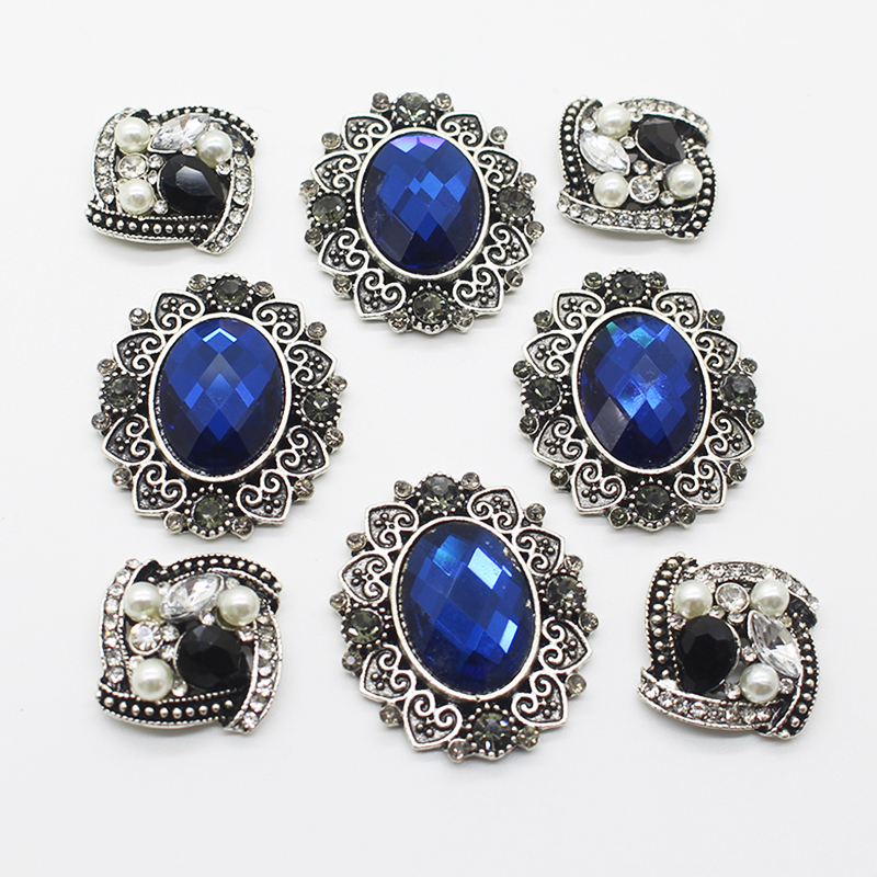 Vintage 10-pcs/set DIY Handmade Sewing Jewelry Accessories Button Alloy Diamond Crystal Pearl Wedding Design Button Accessories
