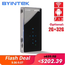 лучшая цена BYINTEK UFO P9 (P8I )Android 7.1 OS Pico Pocket HD Portable Micro WIFI Bluetooth Mini LED DLP Projector with Battery