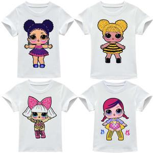 LOL Surprise/белая футболка с милым принтом куклы для девочек, детская Однотонная футболка топы, футболки, домашняя одежда для маленьких детей