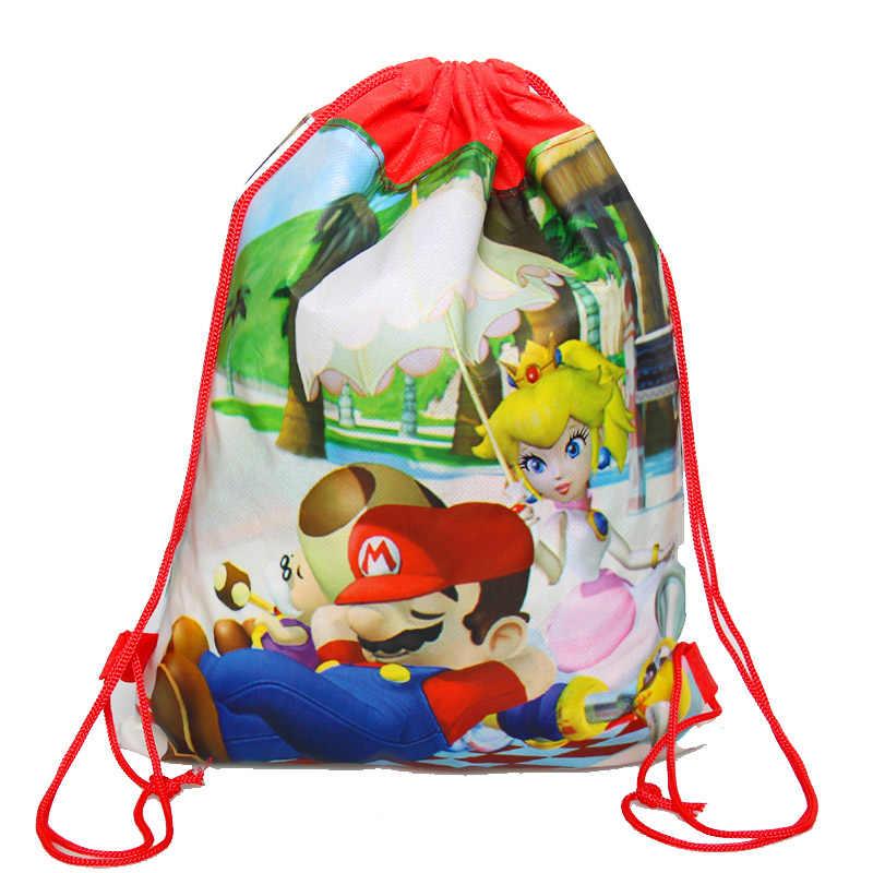 1 pçs dos desenhos animados super mario bros tema festa de aniversário presentes não-tecido cordão goodie sacos crianças favorecem mochilas escolares natação