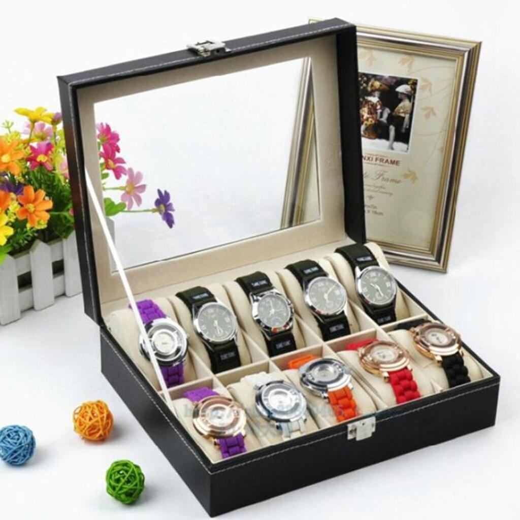 Couro do Plutônio Caixa de Exibição Organizador de Armazenamento para Relógios Slots Novidade Relógio Case Vidro Claro Superior Bloqueio Masculinos 10