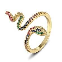 Moda wąż wielowarstwowe pierścienie dla kobiet złota miedź cyrkon Punk Rock regulowany pierścień Vintage biżuteria dla zwierząt prezenty hurtowo
