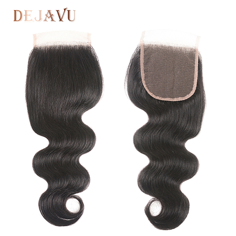 Dejavu Body Wave Closure Non-Remy 4x4 Middle Brown Lace Closure Brazilian Hair Preplucked Swiss Lace Closure For Black Woman