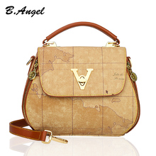 Brown Vintage World Map Handbag for Women Retro Travel Waterproof Leather Crossbody Bag
