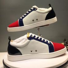 Designer Low Cut Leisure White Leather Red Front none Rivet Red bottoms For men Sports Shoes