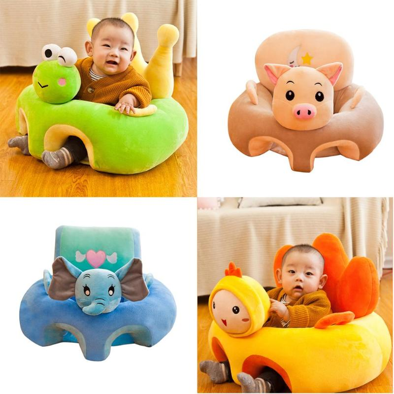 Soft Baby Sofa Anti-fall Support Seat Cartoon Frog Pig Elephant Chicken Lovely Washable Learning Nest Velvet Baby Furniture