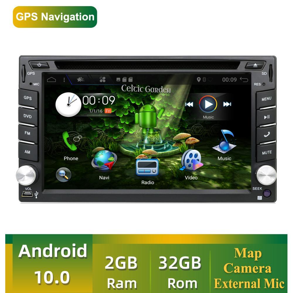 2 din Автомобильный мультимедийный плеер четырехъядерный Android 10,0 Радио стерео аудио DVD GPS навигация Wifi AUX RDS головное устройство