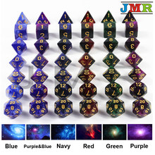 New Arrival 6 color Creative Universe Galaxy Dice Set of D4-D20 with Mysterious Royal Glitter Powder Amazing Effect for DND RPG(China)