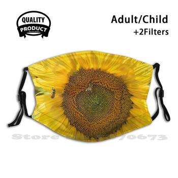 Ape In Girasole Con Nuvole Bianche Reusable Mouth Mask Washable Filter Anti Dust Face Masks Sunflowers Bees Umbria Italy Italia image