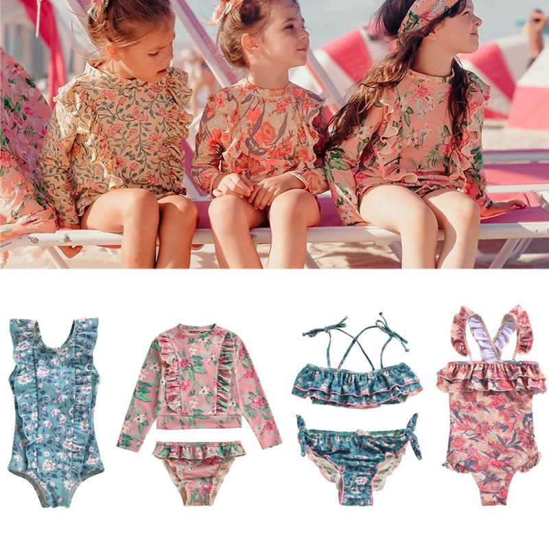 2020 L&M Brand 2020 New Spring Summer Girls One Pieces Swimwear Sets Kids Flower Print Beach Bikini Baby Child Fashion Swimsuits