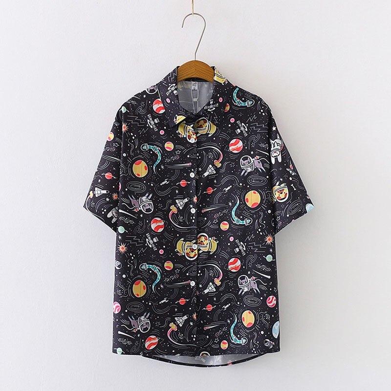 Night Sky Print Shirt Fashion Women Retro Chiffon Blouse Summer Short Sleeve Loose Blouses