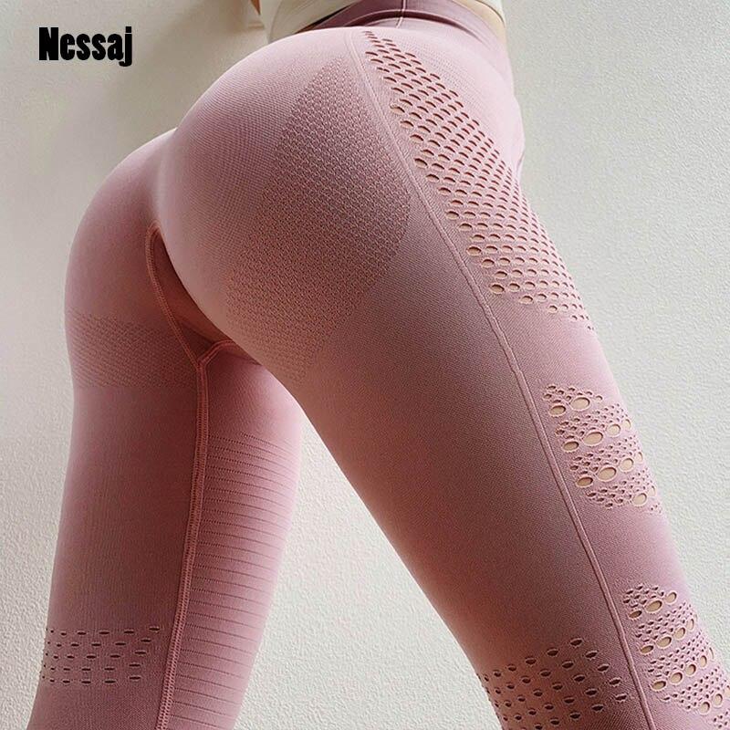 Nessaj Women Hollow-out Knit Pant Seamless Fitness Leggings High Waist Gym Leggings Long  Pants Fitness Workout Leggings