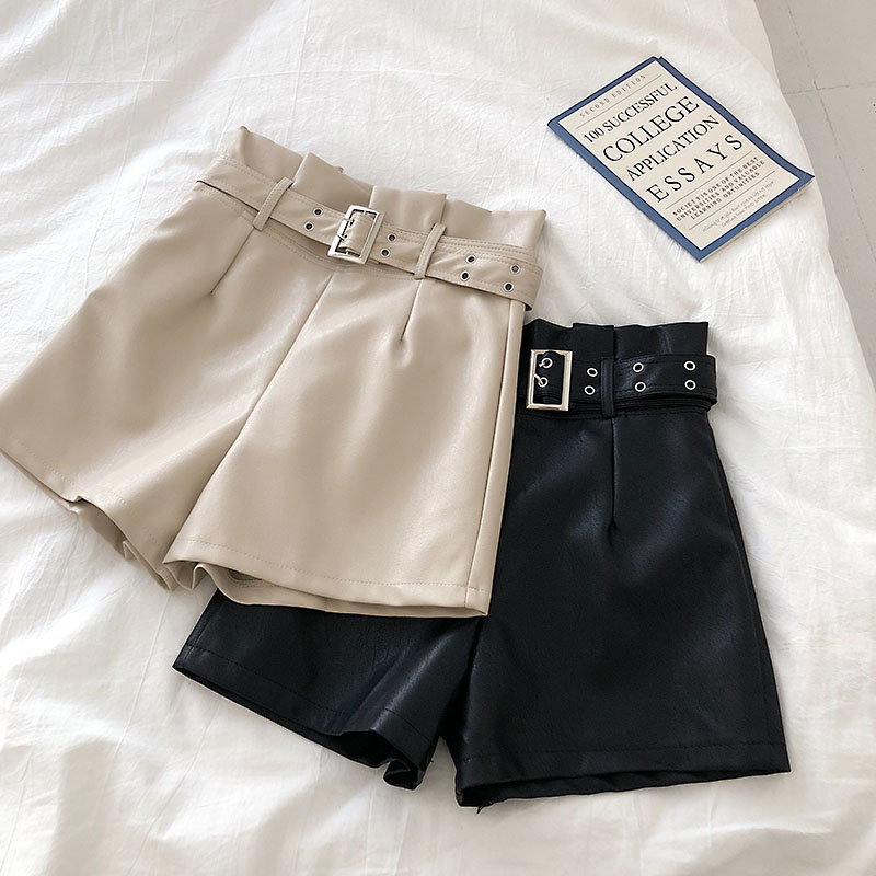 Shorts Women High Waist Leather Shorts Korean Fashion Bottoms Short Overall Pu Leather Shorts Sexy Mini Black Sweatpants 2020