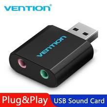 Vention – carte son externe USB à 3.5mm Jack Aux, adaptateur de casque, Audio stéréo, pour haut-parleur, PC, micro, ordinateur portable, r57