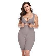 Artı boyutu kadın tam vücut Shapewear Underbust zayıflama orta uyluk şekillendirici fajasTummy kontrolü dikişsiz doğum sonrası vücut kuşak