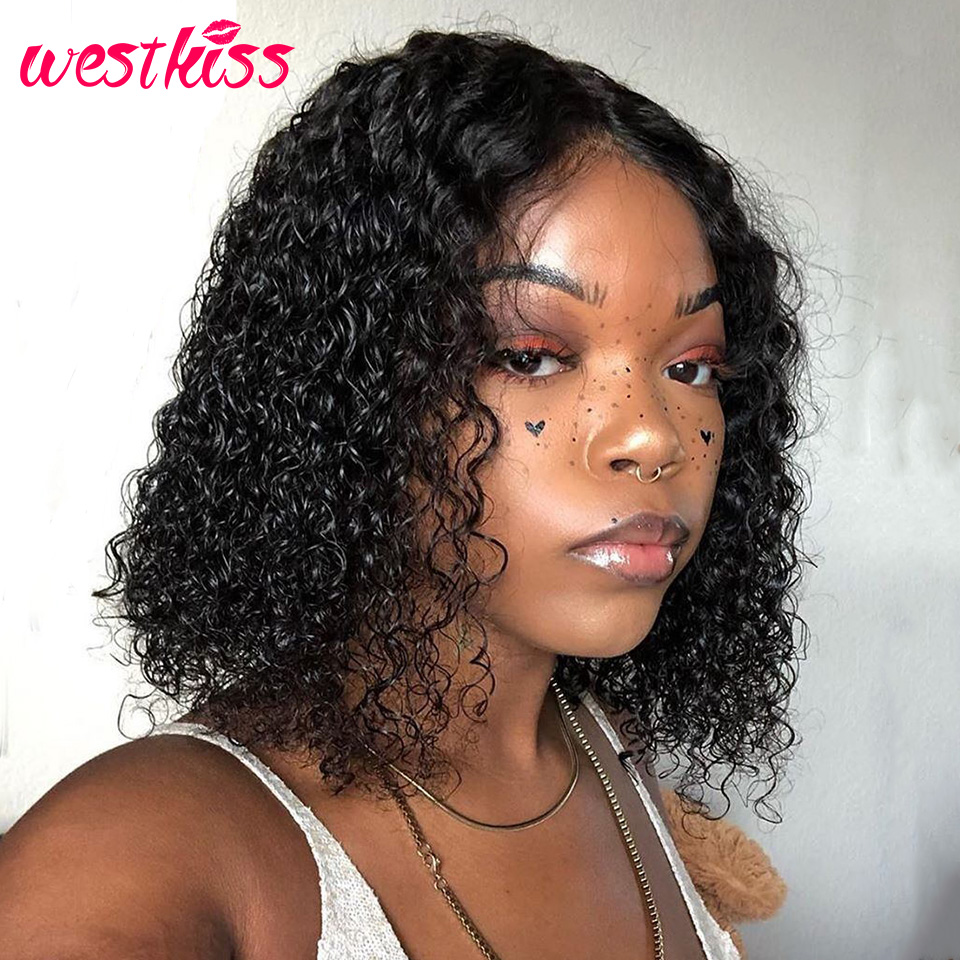 Short Curly Bob Wigs For Women Brazilian Lace Front Human Hair Wigs 13x4 Bob Lace Front Wig Pre Plucked With Baby Hair Remy