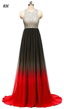 A-line Ombre Prom Dresses 2019 Chiffon Sequins Beading Long Gradient Formal Evening Dress Party Gown Vestidos De Gala BM10
